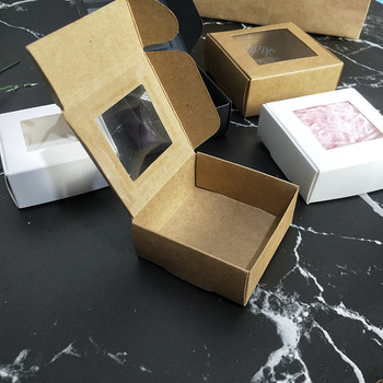 50 pcs Kraft Paper Box Transparent Window Slide Open Jewelry Packaging Box Soap Boxes Wedding Candy Box Packing