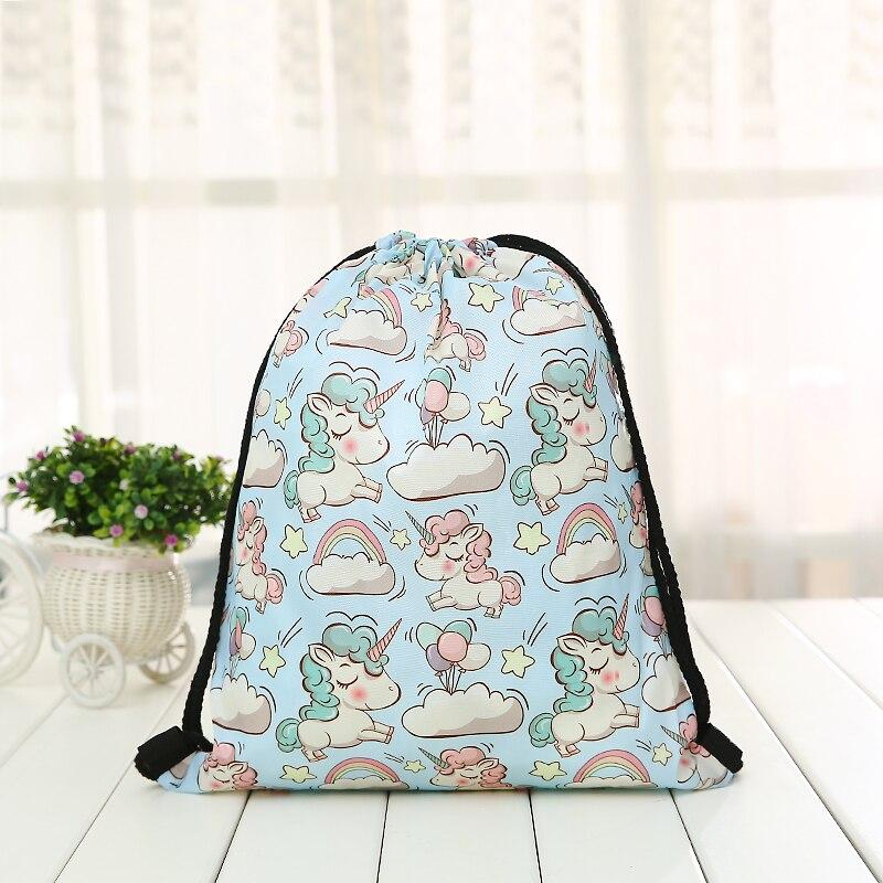 Unicorn Drawstring New Backpack Fashion Women Printing  Knapsack Men Casual Bags Unisex Women's Cartoon Animal Shoulder Blue