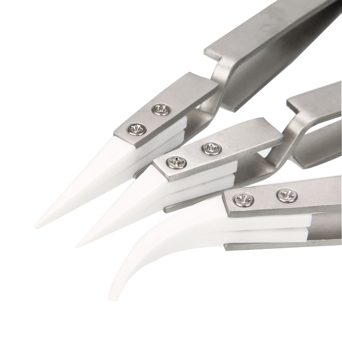 3pcs/set Anti-Static Reverse Ceramic Tweezers Electronic Heat Resistant Conductive Curved Straight Tweezers Hand Tools