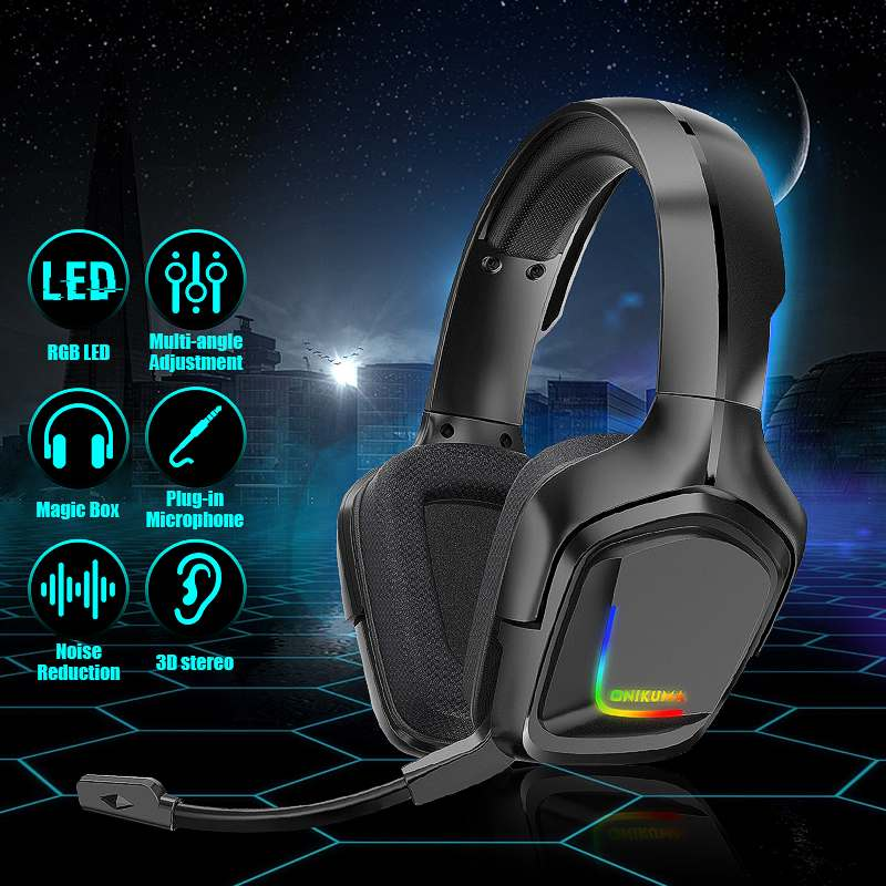 K20 RGB LED Headset Gaming Headphone with Microphone 3D Surround Sound Bass PC Gamer Headphone for Xbox One PS4 Phone Laptop image