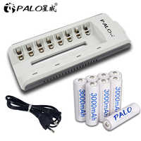 8Pcs PALO NIMH AA Rechargeable Battery aa 3000mAh 1.2V Batteries With Charger for AA AAA NIMH NICD 1.2V batteria batteries