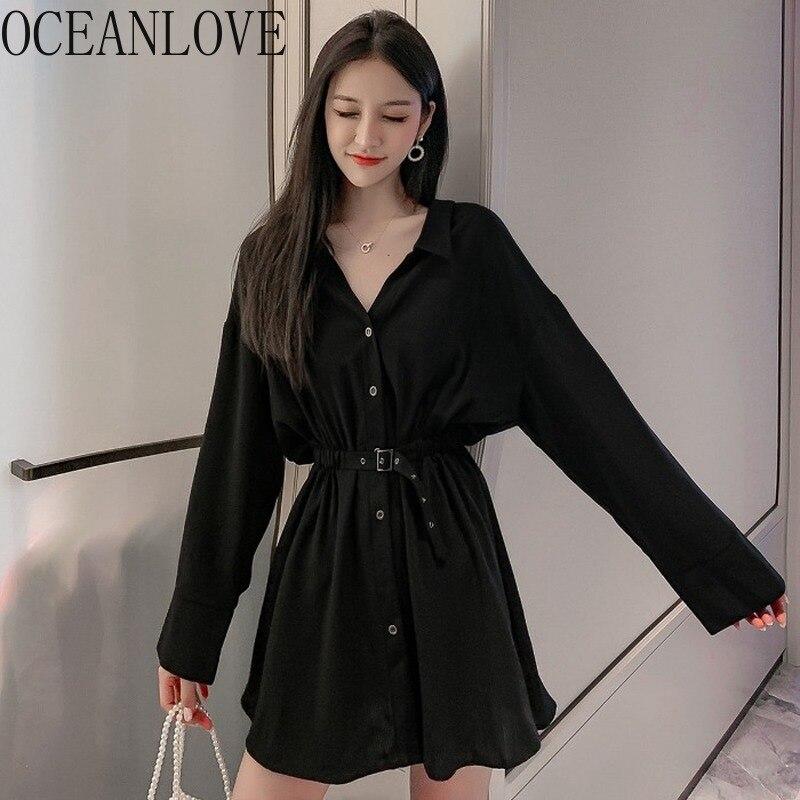 Женское платье с длинным рукавом OCEANLOVE 2020, черное однотонное винтажное Повседневное платье с высокой талией на пуговицах, универсальные мин...
