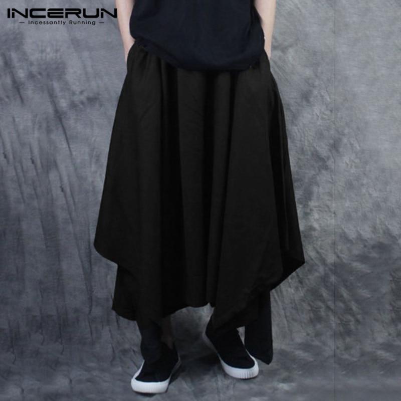 INCERUN Fashion Men Harem Pants Joggers Elastic Waist Solid Color Loose Streetwear Irregular Skirt Trousers Dance Pants Men 2020
