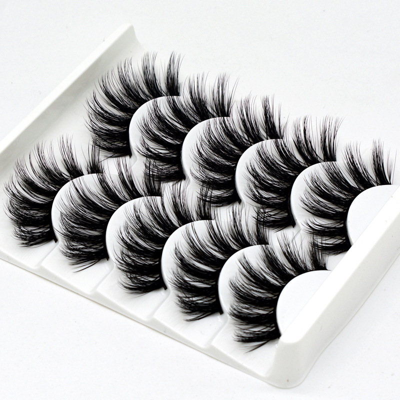 5Pairs 3D Faux Mink Hair False Eyelashes Natural/Thick Long Eye Lashes Wispy Fluffy Lashes  Makeup Beauty Extension Tools