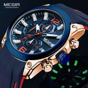 Image 1 - Megir גברים של הכרונוגרף קוורץ שעונים יוקרה עמיד למים שעוני יד למעלה מותג צבאי ספורט שעון גברים Relogios Masculino 2063