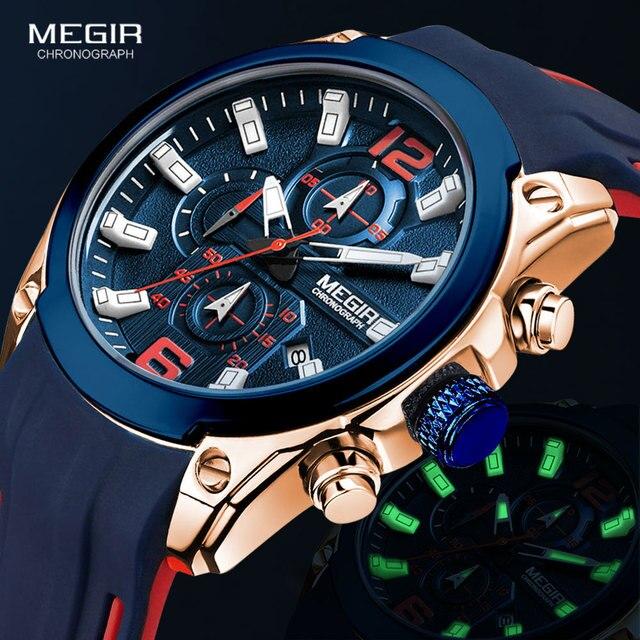 Megir גברים של הכרונוגרף קוורץ שעונים יוקרה עמיד למים שעוני יד למעלה מותג צבאי ספורט שעון גברים Relogios Masculino 2063