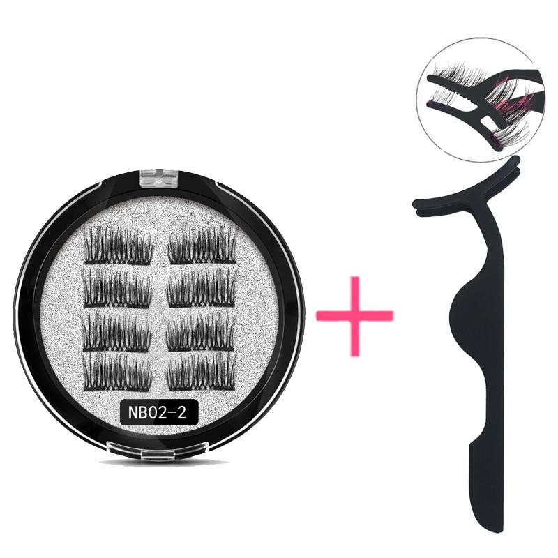 LEKOFO 8Pcs Magnetic Eyelashes With 2 magnetic lashes 3D False Natural For Mink Eye lashes Extension Long faux cils magnetique 3