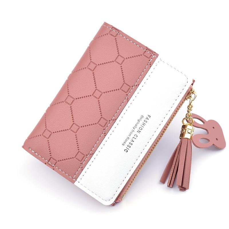 Короткий кошелек для женщин, маленький бумажник на молнии в стиле пэчворк, рельефные клатчи с кисточками, милый простой розовый Миниатюрный...
