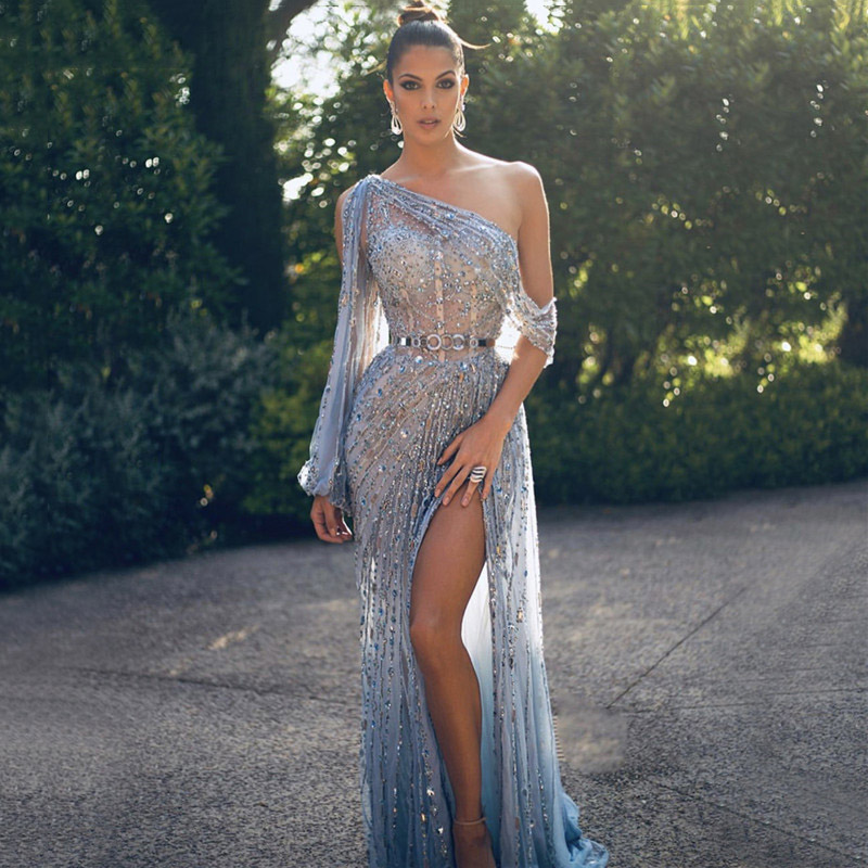 Eightree Dubai One Shouder Evening Dresses Luxury Beading Crystal Sparkly Evening Gowns Arabic Formal Party Dress Robe De Soiree