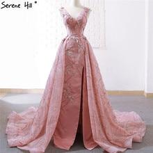 Cao Cấp Đậu Đỏ Chữ V Gợi Cảm VÁY ĐẦM DẠ 2020 Handmade Hoa ĐÍNH HẠT CƯỜM Vintage Váy Dạ Hội Ảnh Thật HM66719