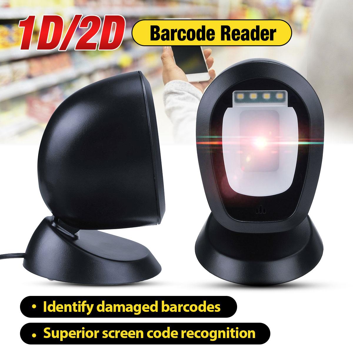 usb scanner de codigo de barras automatico handsfree 1d 2d scanner 360 graus rorating plataforma de
