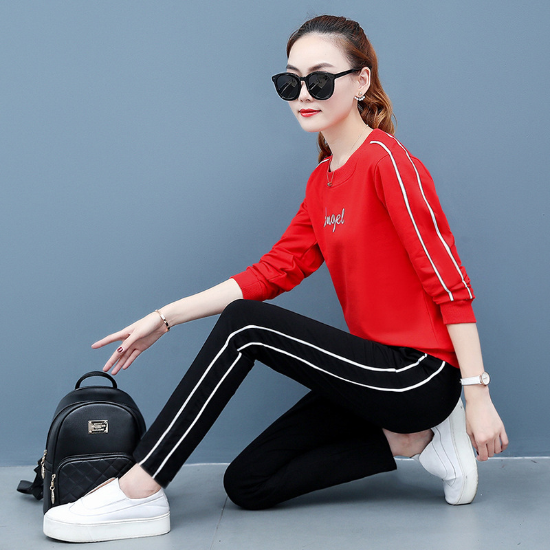 Long Sleeve Casual Sports Clothing WOMEN'S Suit 2019 Spring And Autumn Spring New Style Fashion Korean-style Running Two-Piece S