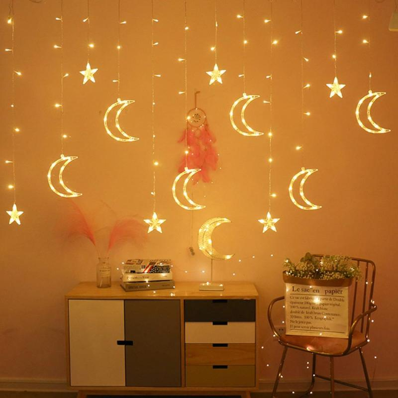 220V LED Moon Star Lamp Christmas Garland String Lights Fairy Curtain Light Outdoor For Holiday Wedding Party Decoration New