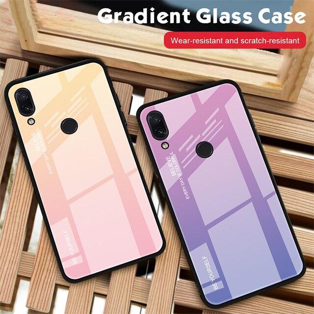 Tempered Glass Case for Xiaomi Redmi Note 7 6 K20 Pro Case for Redmi 7 6A 6 Pro 5 Plus Gradient Glossy Colorful Cover Case 1