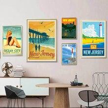 América New Jersey Sunny Beach Vintage carteles de viaje lienzo pintura cartel de papel Kraft recubierto etiqueta de la pared decoración del hogar regalo