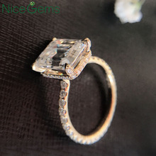 NiceGems Solid 18K Yellow Gold Center 10x8mm 3.8ctw Emerald cut Moissanite Engagement Ring Full Halo pave set Moissanite ring