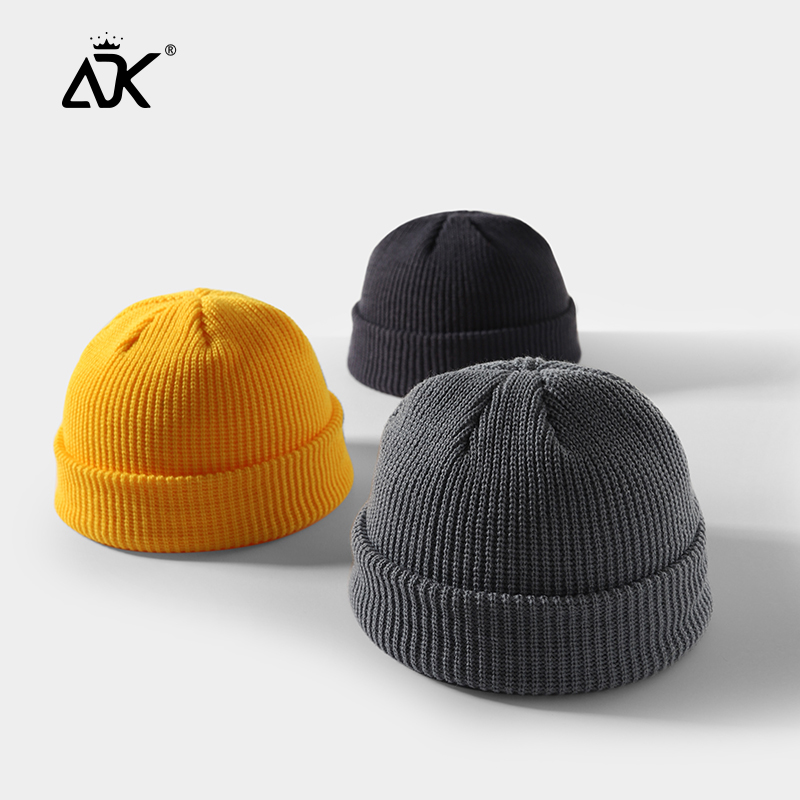 Skullcap Winter Knitted Beanie Solid Fold Hats For Unisex Stretchy Skullcap Fashion Bonnet Casual Hop Hop Gorros Ribbed Beanie