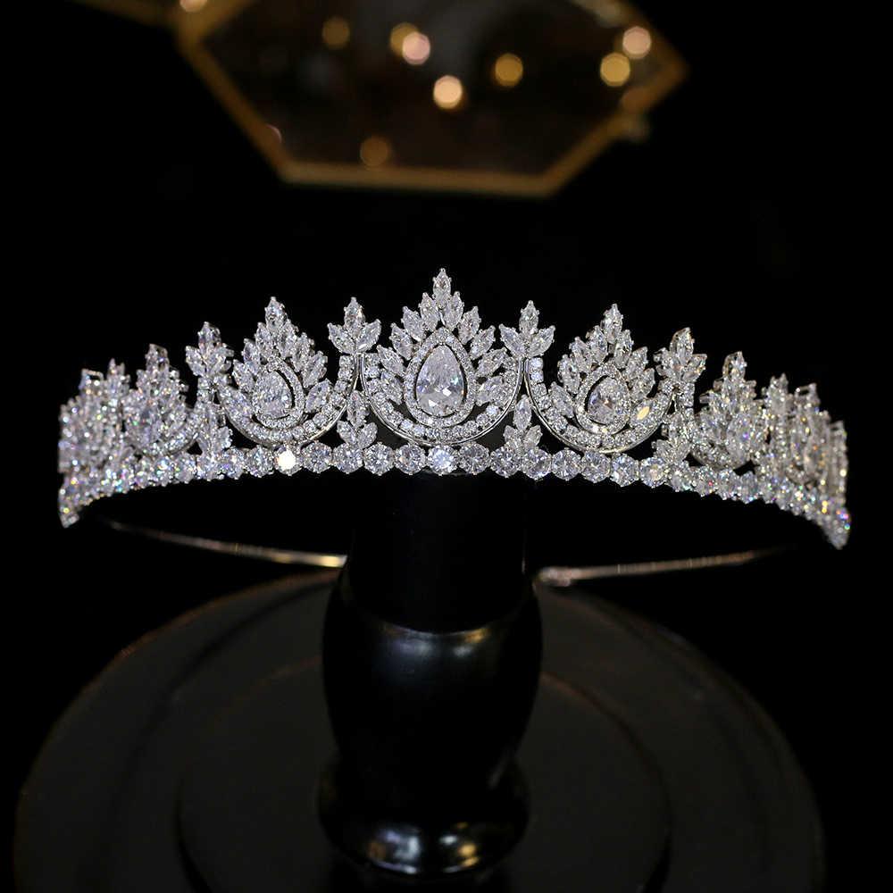 Zircon cubique de luxe dégoulinant chapeaux mariée cristal couronne mariage cheveux accessoires beauté Graduation couronne mariée diadèmes