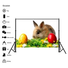Easter Rabbit Eggs Background Cloth Festival Party Decorative Wallpaper Vinyl Photography Backdrops Paper for Photo Studio Props(China)