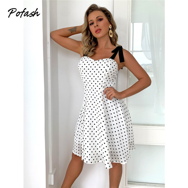 Pofash White Dot Summer Dress Women Bow Black Spaghetti Strap Sexy Backless Mini Dresses Female Ruffle Streetwear Vestidos 2021 4