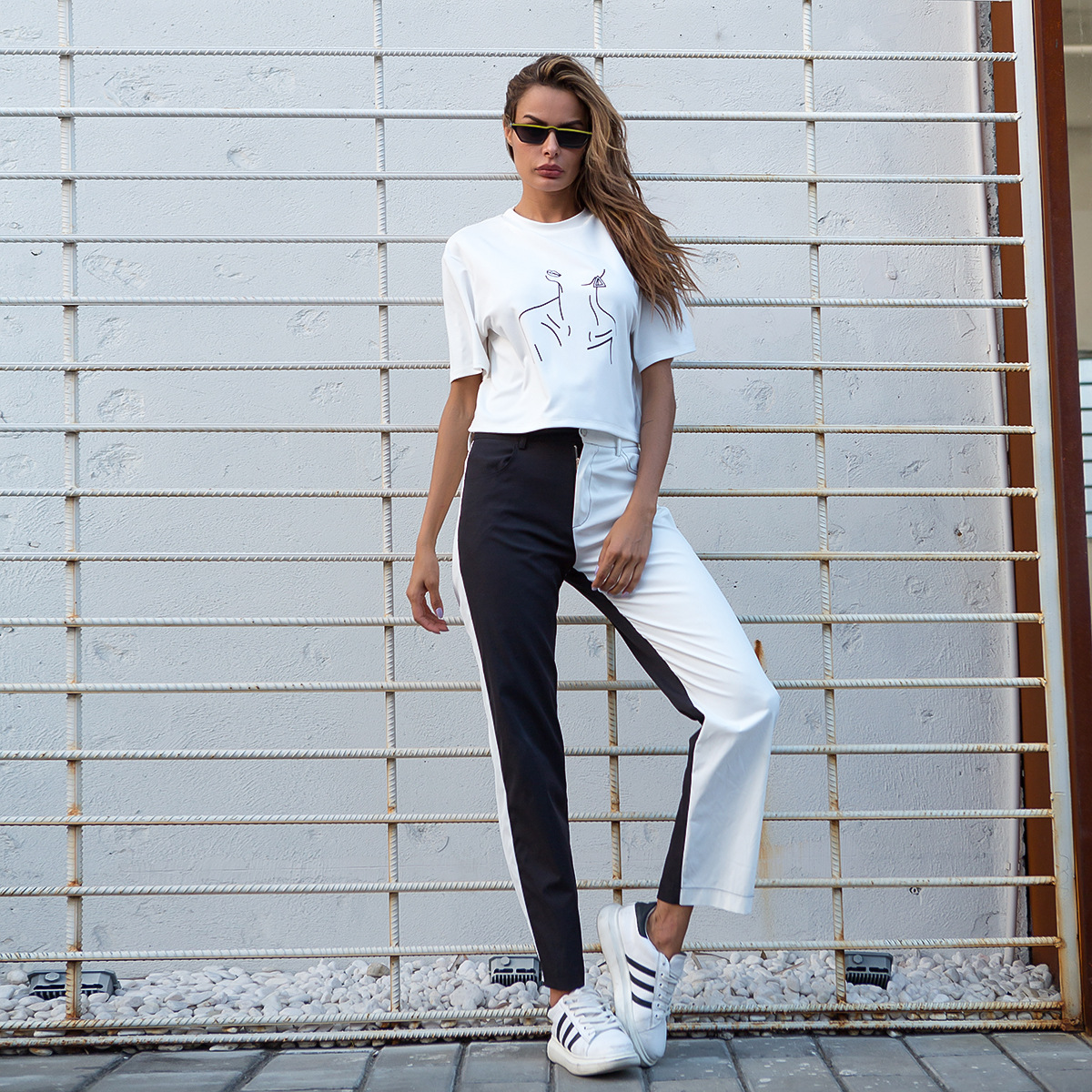 HOUZHOU Casual Pants Women Black And White Panelled Trousers Women High Waist Pants Streetwear Patchwork Cargo Pants Women