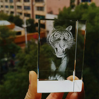 Free shipping! Customize 5*5*8CM Crystal 3D laser Tiger Crystal Paperweight Crystal Promotional Gift  Crystal Crafts