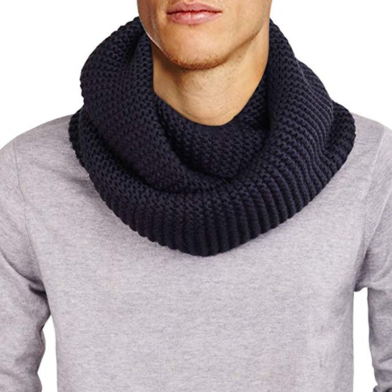 Mens Winter Unisex Chunky Knitted Infinity Loop Scarf Male Cotton Neck Scarves Thick Warm Ribbed Knit Circle Tube Scarf For Men