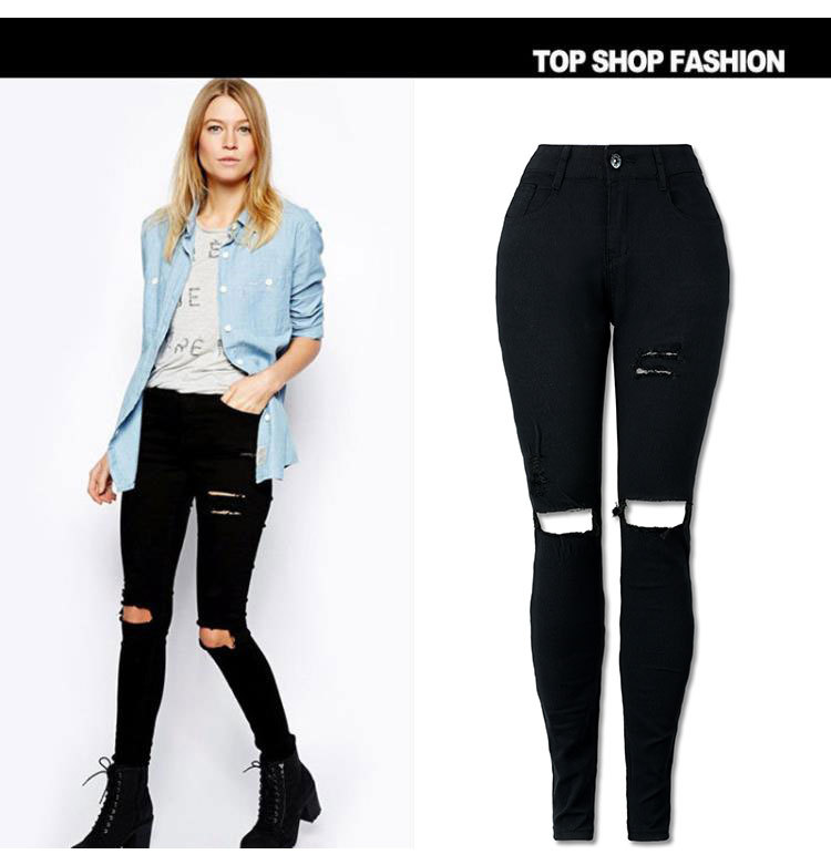 European And American Street Popular Beggar With Holes High-waisted Stretch Slim Fit Plus-sized Washed Jeans Hot Selling