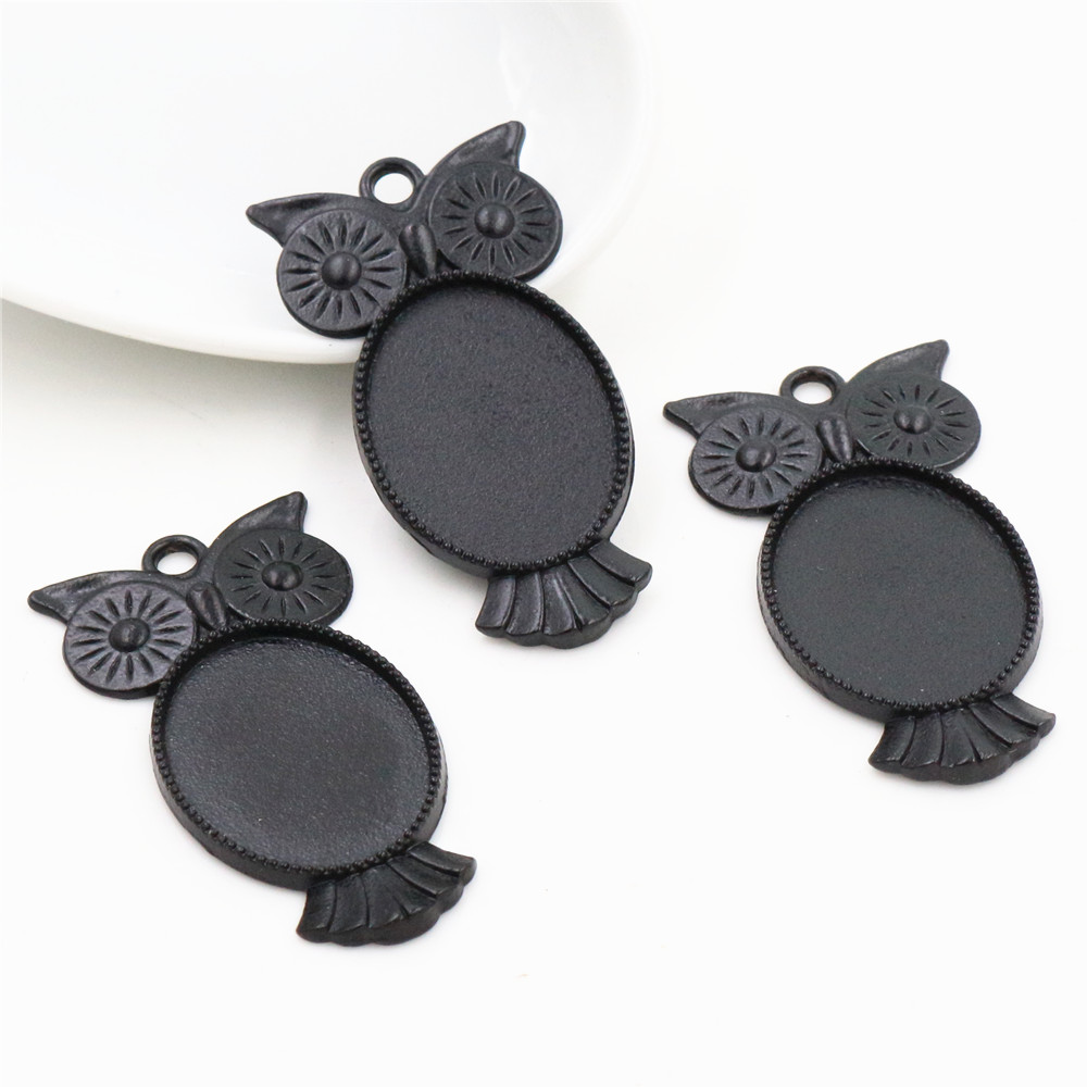 4pcs 18x25mm Inner Size Black Plated  Owl Style Cameo Cabochon Base Setting Charms Pendant Necklace Findings  (C3-43)