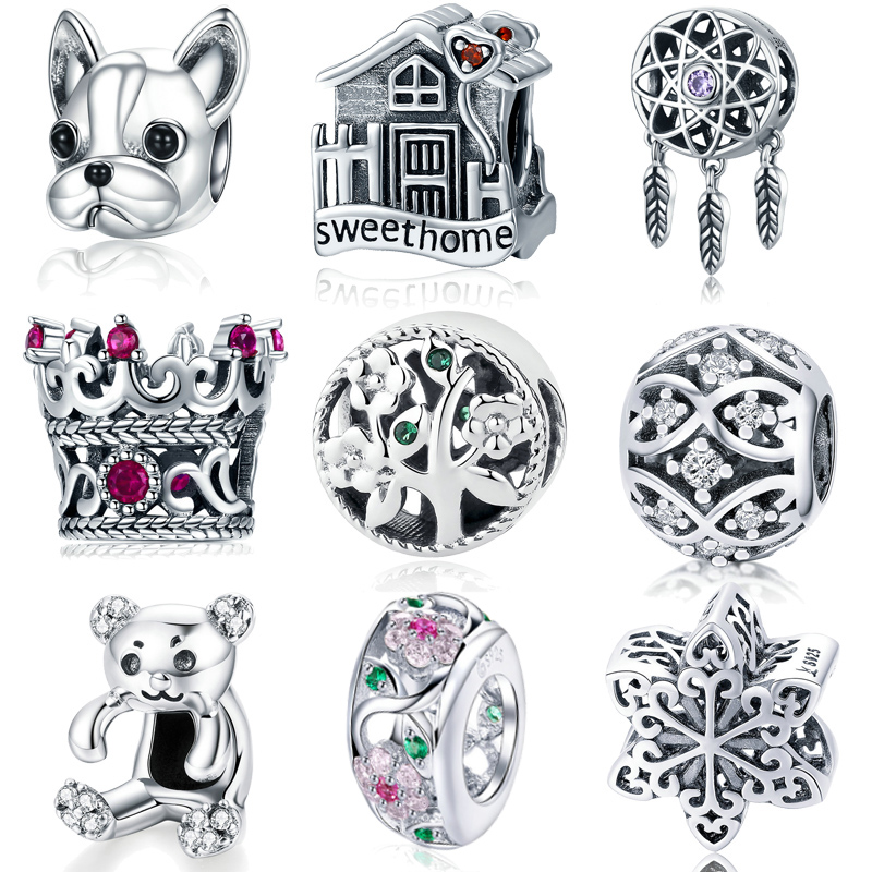 MYBEBOA  Hot Sale 925 Sterling Silver Missing Round Dream Cather Charms Beads Fit Original Pandora Bracelet Charms Jewelry