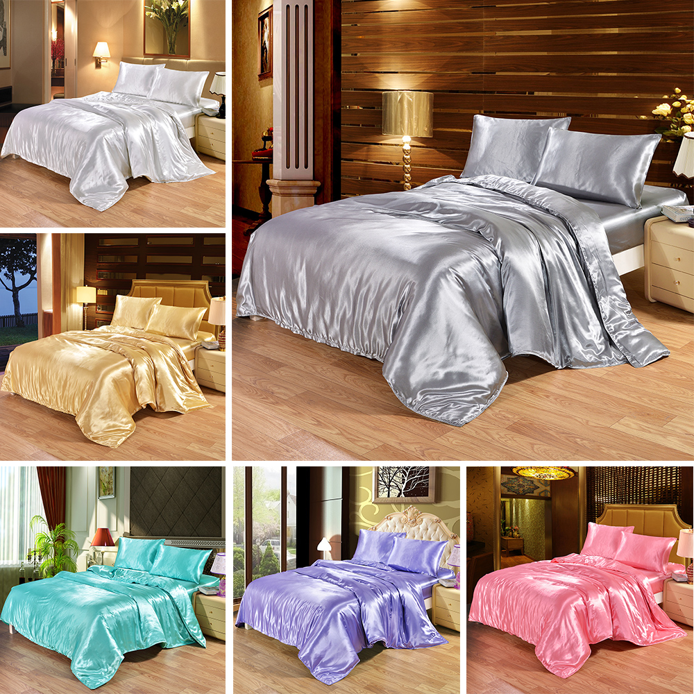 Luxury Silk Bedding Set Satin Queen King Size Bed Set Comforter Quilt Duvet Cover Linens And Pillowcases in Bedding Sets from Home Garden