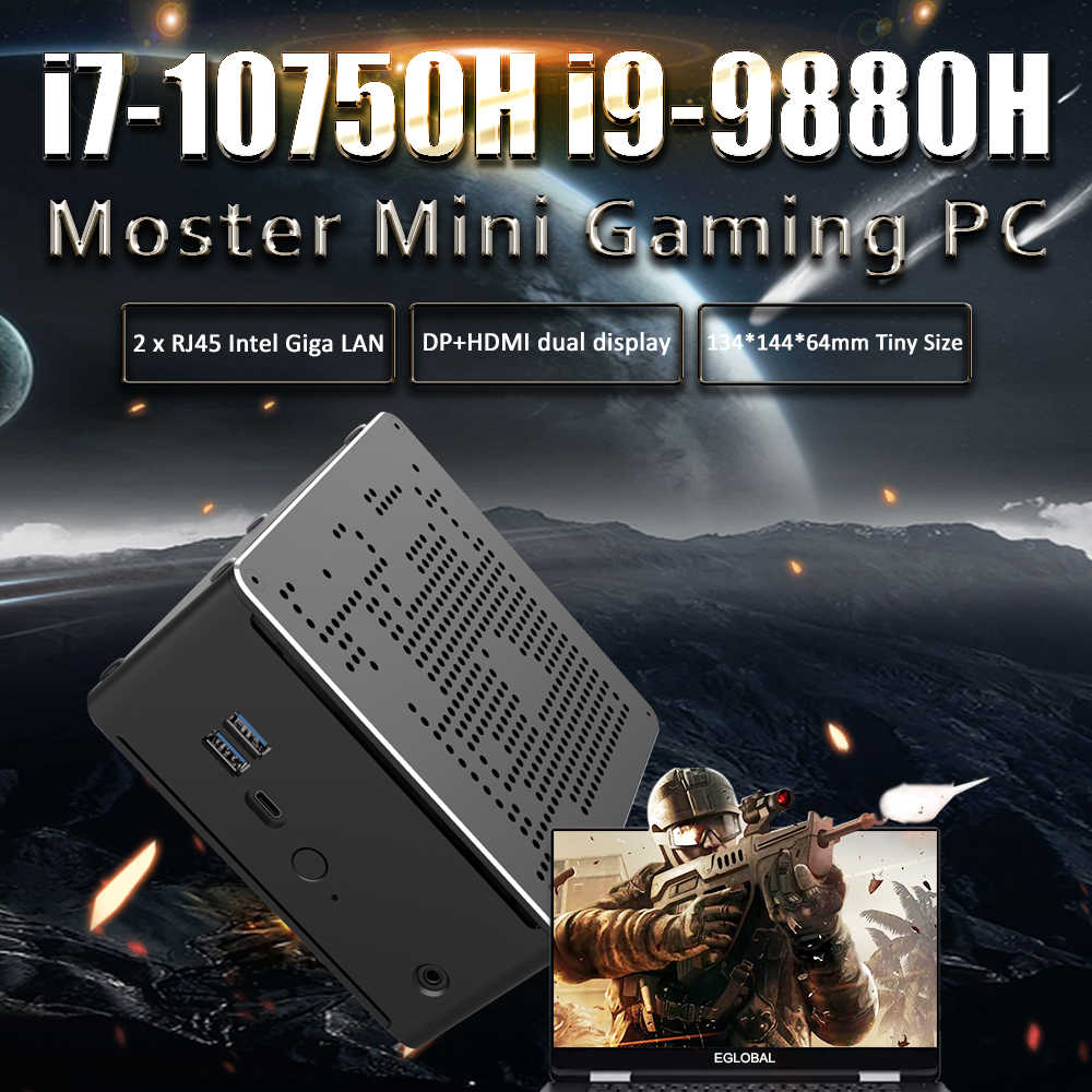 Gaming mini pc intel i9 8950hk 9880h 9850h xeon E-2176M i9 windows 10 2 intel lans computador desktop sistema de computador ac wi-fi 4k htpc hd,