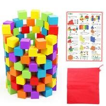 100 шт/25*25 см деревянные кубики цветные игрушки классические