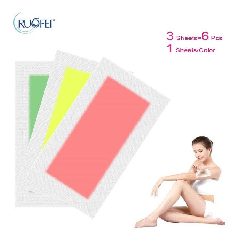 3sheets=6pcs Hair Removal Double Side Depilatory Epilator Wax Strip Paper Pad Patch Waxing For Face/Legs Body/Bikini/Underarm