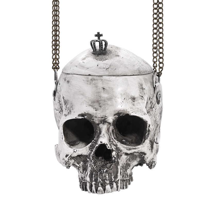 Gothic Túi Hộp Sọ Ví Punk Goth Túi Trang Điểm Màu Xám Nhựa Acrylic Túi Nữ Túi Vệ Sinh