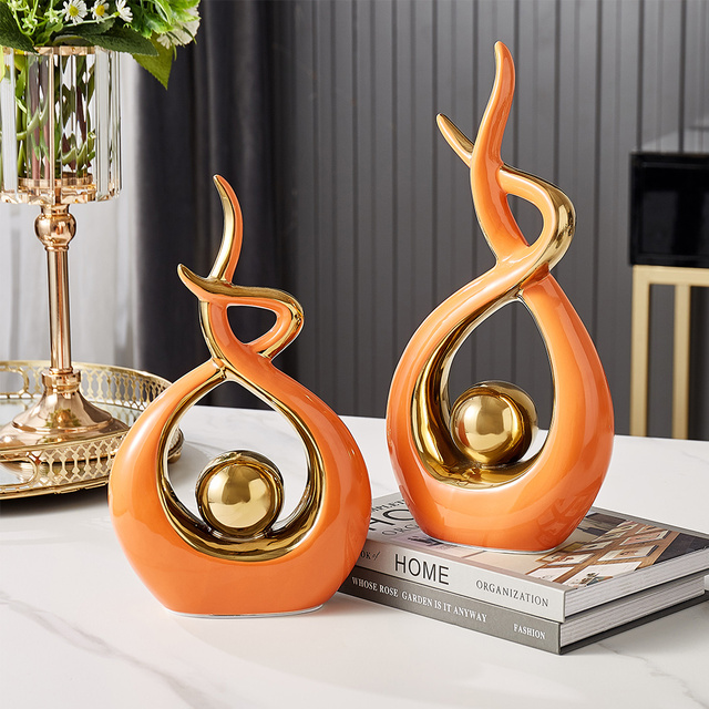 Home Decoration Accessories For Living Room Ceramic Abstract Sculpture Handicraft Statues Office Desk Decoration Art Fgurines 5