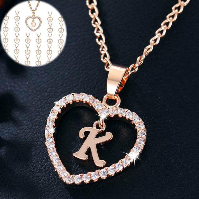 Womens Jewelry Name Initials Heart Pendant Necklace 26 Letters Zircon Love Necklaces Girls Gifts the First Letter Accessories 3