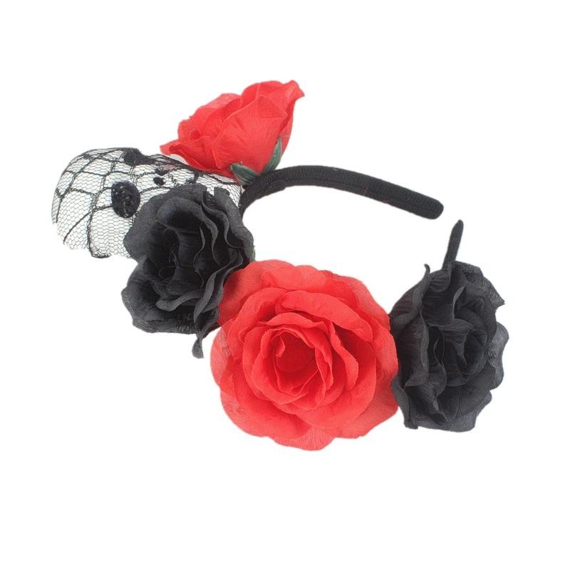 Bohemia Bride Headband Skull Big Rose Flower Crown Hairhead Accessories Women Girls Bridemaids Wreath Party Hair Ornaments