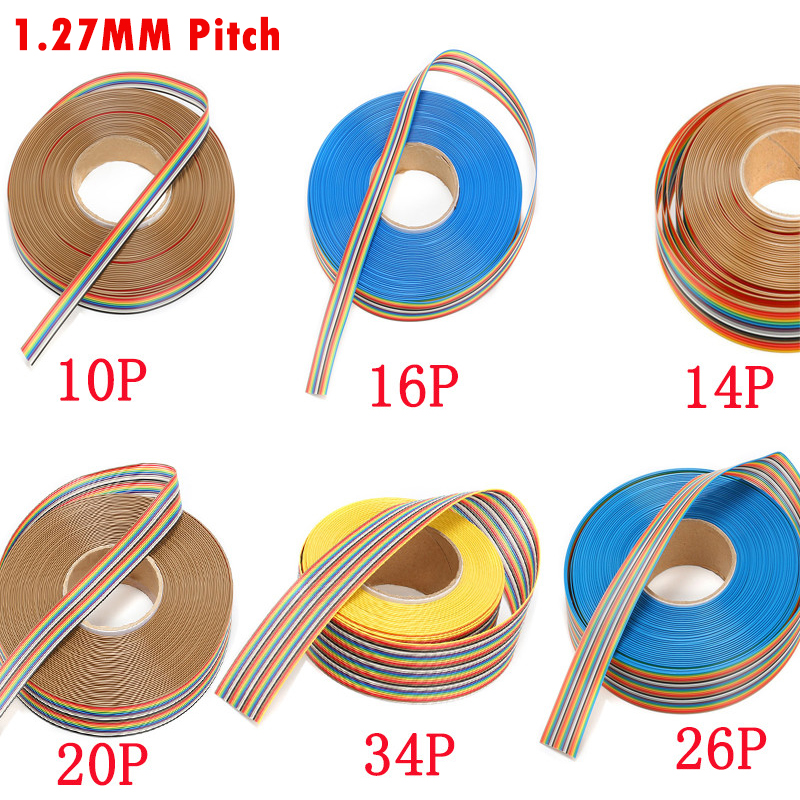 1 Meters 1.27mm Pitch Color Flat Ribbon Cable 10P 14P 16P 20P 26P 34P 40P 50P Pin Rainbow WIRE For FC Dupont Connector