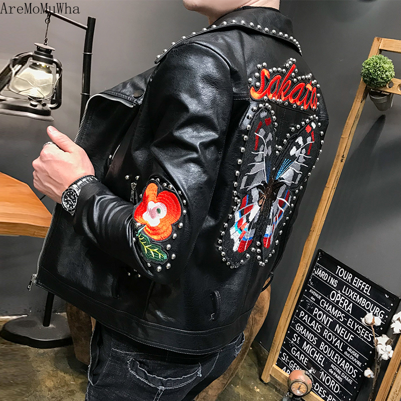 AreMoMuWha New PU Leather Jacket Slim Korean Rivet Handsome Locomotive Men's Jacket Trend Leisure Butterfly Embroidery QX1132
