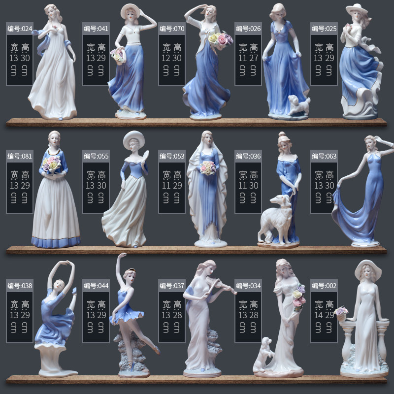 European Ceramic Beauty Figurine Home Desktop Furnishing Crafts Decoration Western Lady Girls Porcelain Handicraft Ornament Wed