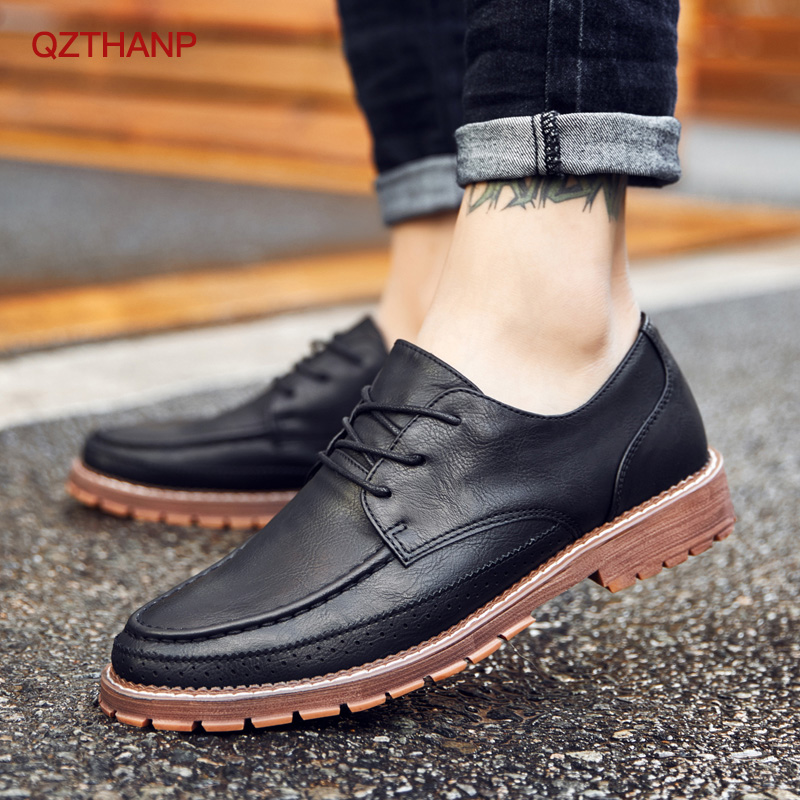 2018 Casual PU Leather Boots Men Black Mens Boots Men Martins Men Shoes  Oxford Krasovki Moccasins Men Party Shoes High Quality-Leather bag