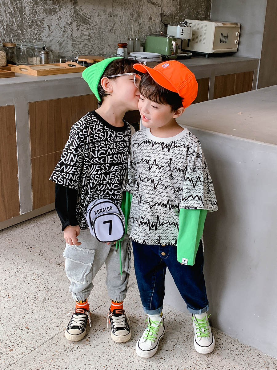 Pure Cotton Boy Printed Fake Two-Piece Long-Sleeved T-shirt Big Boy Baby 2020 New Style Western Style Autumn Korean Style Shirt 2