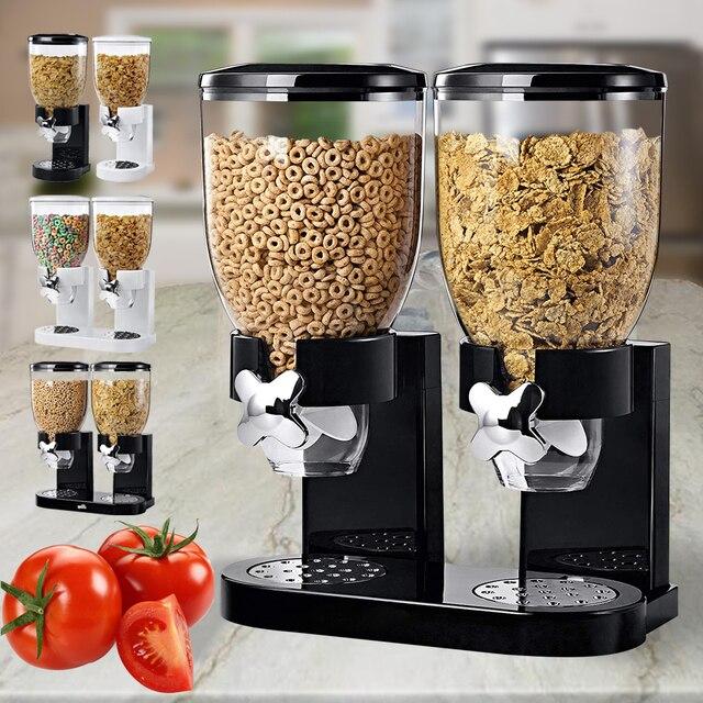 Grain Dispenser 1/ 2 Gallons Single Double Cereal Dispenser Grain Oat Storage Container Kitchen Dry Food Snack Bottle