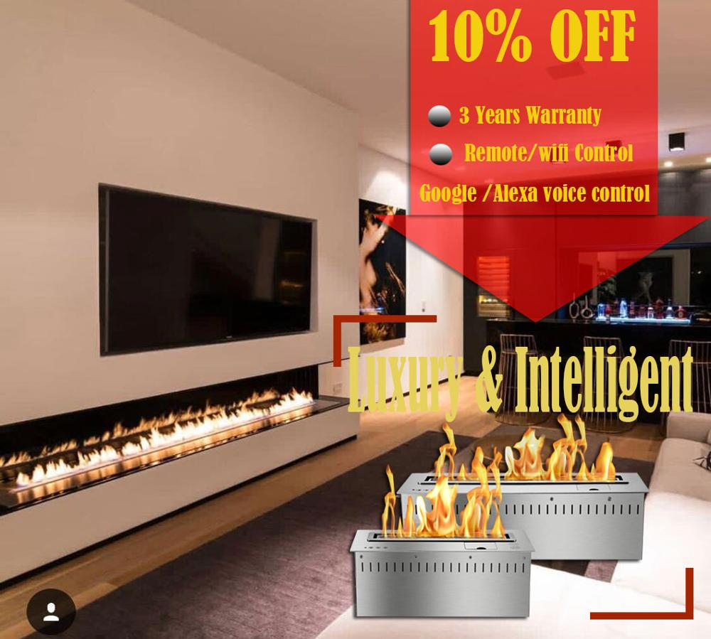 Inno Living  60 Inch Silver Or Black Wifi Real Fire Intelligent Indoor Auto Fireplace Bio Ethanol