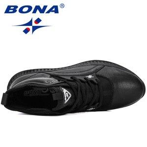 Image 5 - Мужские кроссовки на шнуровке BONA, черные уличные кроссовки с высоким берцем, на плоской подошве, Осень зима 2019