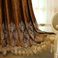 High-end Bronzing Flannel Embroidered Curtains Gauze Simple European Modern for Living Room Bedroom Study Blackout Curtains