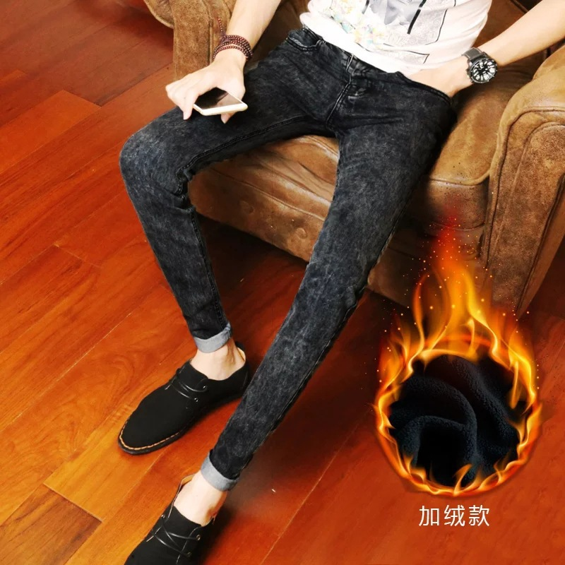 Autumn And Winter Brushed And Thick Jeans Men's, Black Elasticity Slim Fit Winter Warm Skinny Pants