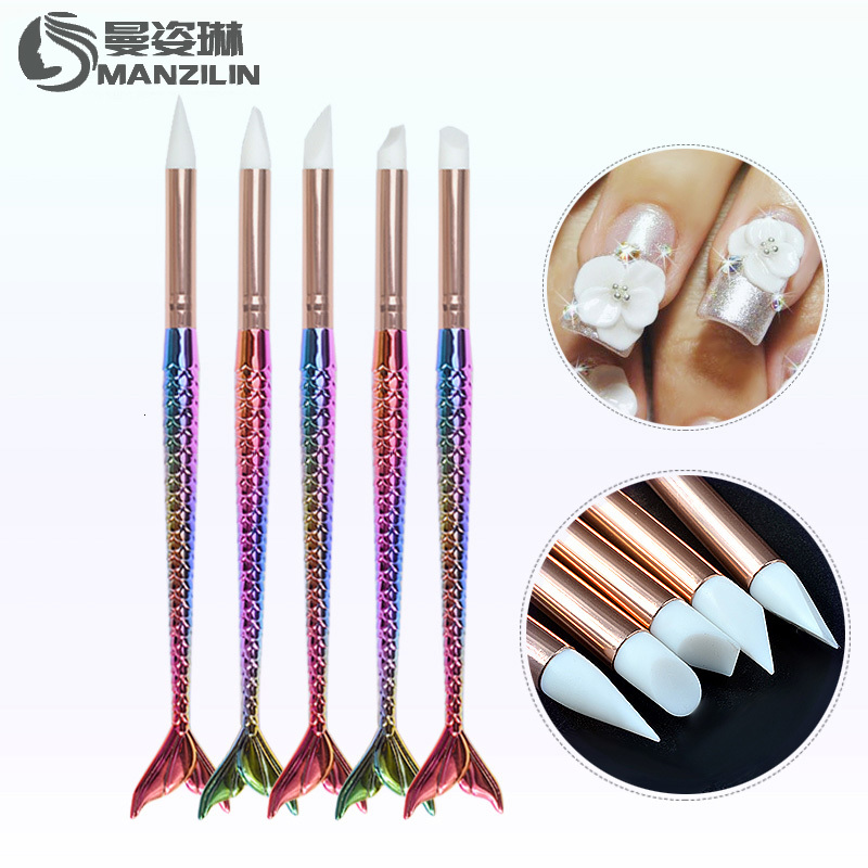 5 Patterns Mermaid Handle Nail Art Brush Pen Silicone Head Carving Emboss 3d Shaping Sculpture DIY Manicure Nail Dotting Tools