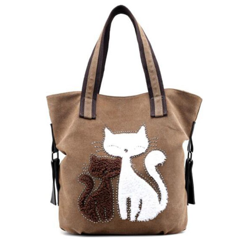 New 2020 Woman Canvas Bags Women Casual Shoulder Bag Famous Brand Female handbag Bags Bolso Ladies cat Big shopping bag|Top-Handle Bags| - AliExpress